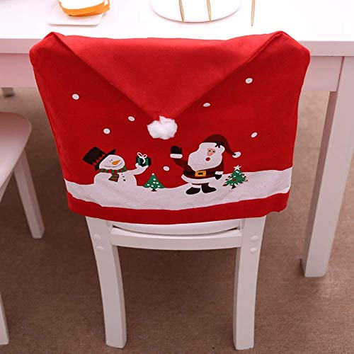 LOHOME Santa Claus Cap Chair Cover Set of 4 PCS Snowman Red Hat Chair Back Covers Non Woven Chair Back Cover Sets Christmas Dinner Decorations (4 pcs) -