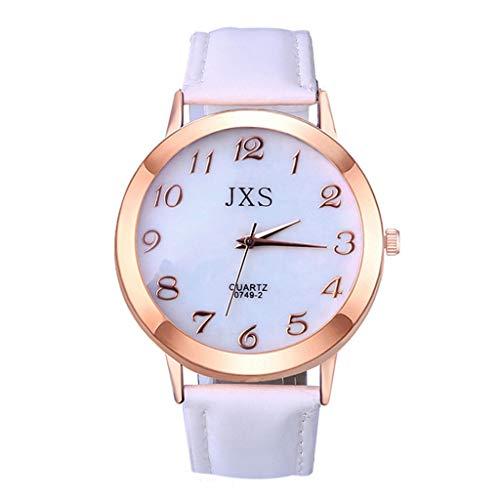 Price comparison product image YanvanWatches for Women Hot Sale Quartz Watch,  Ladies Women Fashion Luxury Leisure Set Auger Leather Steel Quartz Watch (White)