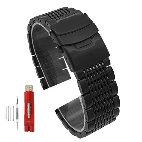 - Solid Mesh Stainless Steel Bracelets 20mm/22mm/24mm Watch Bands Deployment Buckle Brushed/Polished Strap for Men Women