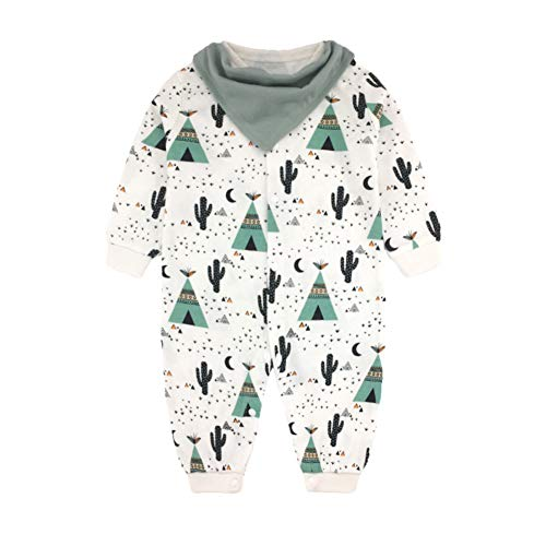 JooNeng Newborn Baby Cotton Romper Onsies with Detachable Bibs Infant Long Sleeve Animal Printed Sleeper Pajamas Clothes,Cactus