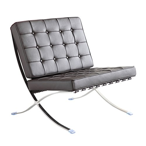 Fine Mod Imports FMI4000P-black Pavilion Chair in Italian Leather, Black