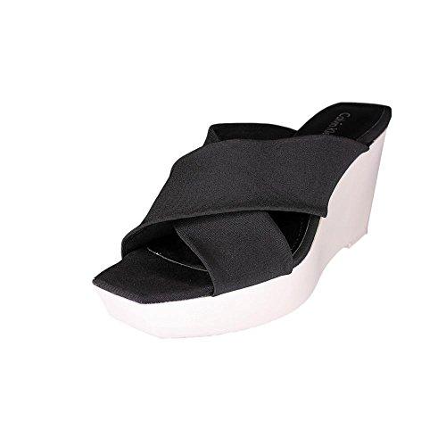 Slide Sandalias de cuña de Calvin Klein Shyna Negro/Blanco
