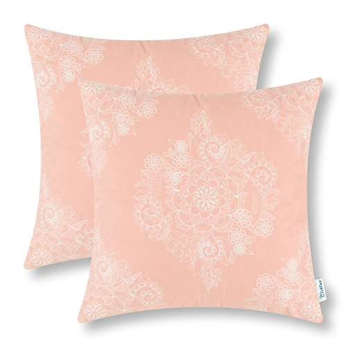 CaliTime Pack of 2 Cozy Throw Pillow Cases Covers for Couch Bed Sofa Manual Hand Painted Print Vintage Mandala Floral 18 X 18 Inches Coral Pink