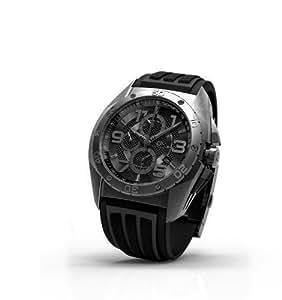 Time Force TF3329M14 - Reloj de caballero de cuarzo, correa de silicona color negro