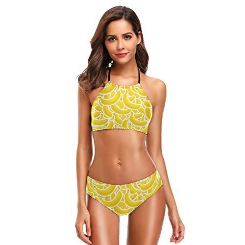 Women's Ladies Sexy Swimsuit Bikini Sets Banana Logo Lace Up Halter Beach Swimwear -