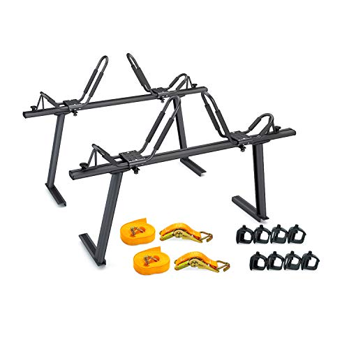 AA Products Model APX25 Aluminum Truck Rack with 8 Non-Drilling C-Clamps and 2 Sets Kayak J-Racks with Ratchet Lashing Straps