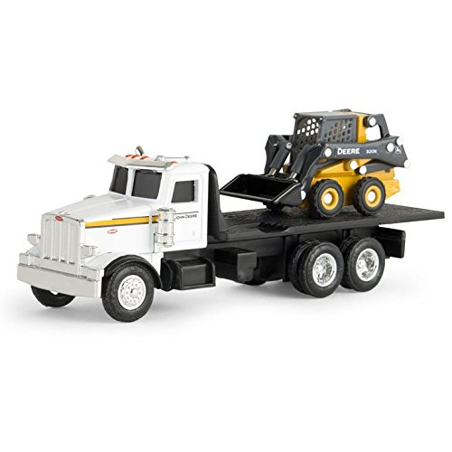 1/64th John Deere Peterbilt Flatbed Truck with 320E Skidsteer - John Deere Skidsteer Toy