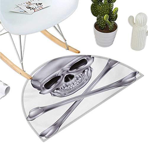 Grey Semicircular Cushion Vivid Skull and Crossed Bones Dangerous Scary Dead Skeleton Evil Face Halloween Theme Halfmoon doormats H 23.6