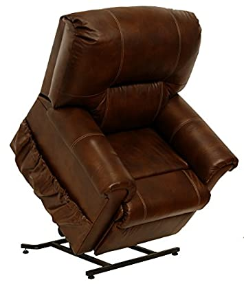 Catnapper Power Lift Full Lay-out Chaise Recliner with Comfort Coil Seating – Top Grain Leather Where the Body Touches – Stylish Padded Arms Tobacco – Weight Capacity 350 lb.
