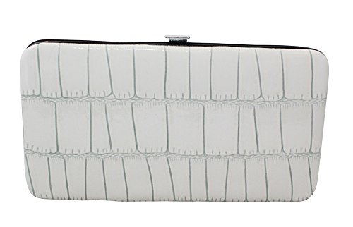 Hinge Wallet (Chicastic Faux Snakeskin Leather Flat Hard Case Clutch Wallet - White Small)