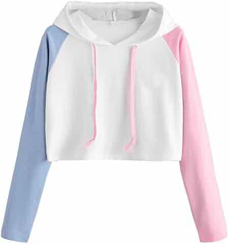 940ee42e43 Makulas Women Teen Girls Fashion Patchwork Drawstring Cute Crop Top Printed  Hoodie Long Sleeve Pullover Croptop