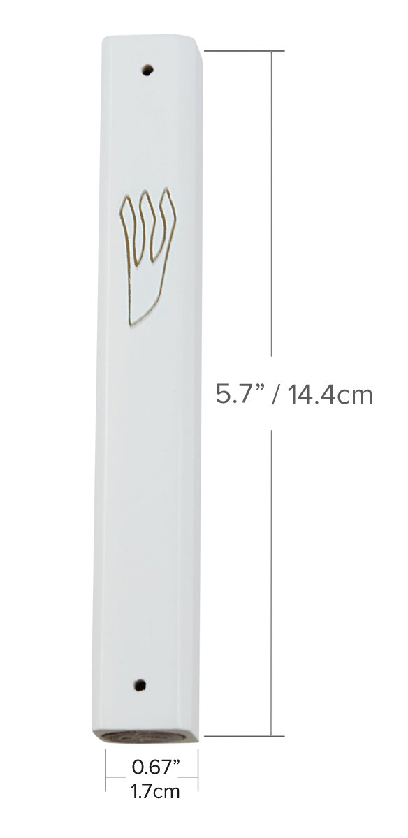 Peer Hastam White Wood Mezuzah Case With Gold Shin 4.9 Inches for 4.0 Inches Scroll