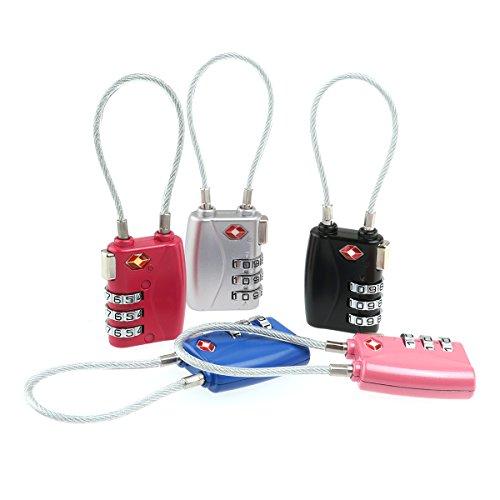 ROSENICE TSA approuvé serrures sécurité combinaison cadenas câble bagages serrures de 5 couleurs à 3 chiffres(Noir)