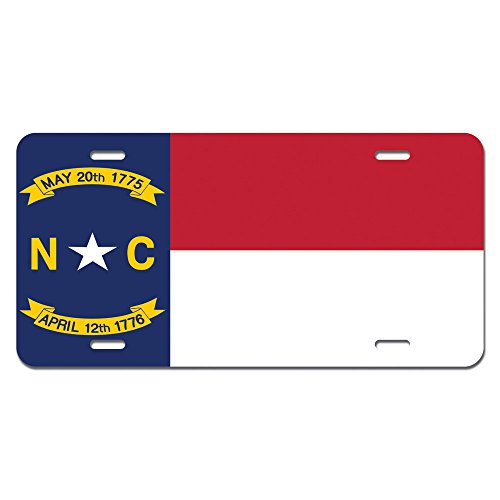 North Carolina State Flag Novelty Metal Vanity License Tag Plate