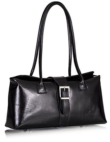 (LIATALIA Genuine Italian Leather Top Handle Buckle Satchel Shoulder Handbag - MEGAN [Black)