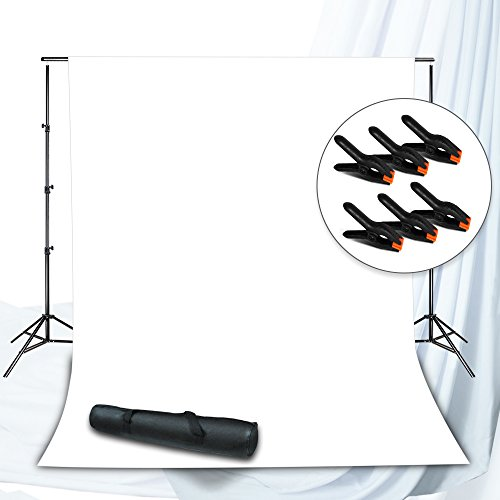 Julius Studio Background Muslin Backdrop Support System with Photo Clamp, White Backdrop Muslin, Photo / Video Studio Kit, JSAG262