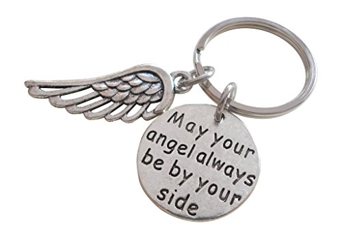 Angel Silver Keychain (May Your Angel Always Be By Your Side Keychain With Wing Charm)