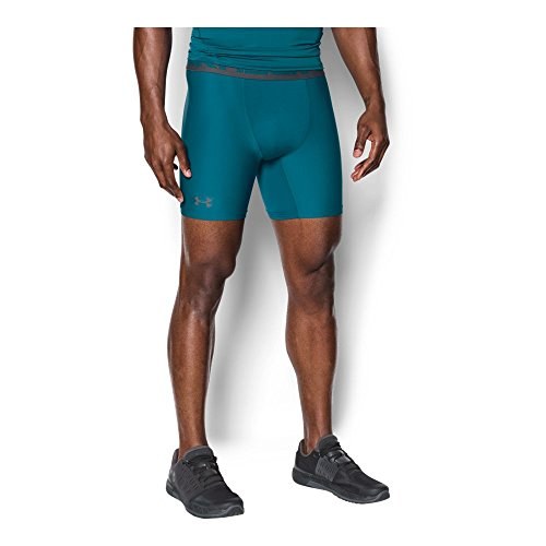 Under Armour Men's HeatGear Armour Mid Compression Shorts, Bayou Blue/Graphite, Medium