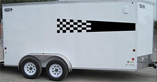 Checkered Flag Racing Trailer Decals Stickers Murals Set Auto Car Truck (Set Trailer Sticker)