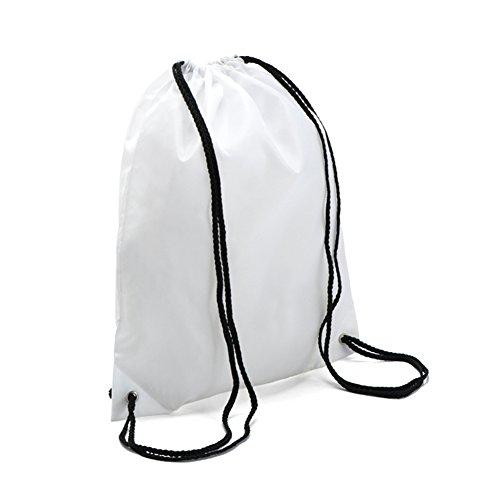 BINGONE Folding Backpack Nylon Drawstring Bag Home Travel Sport Storage Use White -