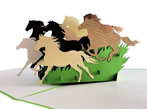 (iGifts And Cards Inspirational Wild Horses 3D Pop Up Greeting Card - Majestic, Colt, Pony, Mustang, Stallion, Half-Fold, Happy Birthday, Retirement, Just Because, New Business Adventure, All Occasion)