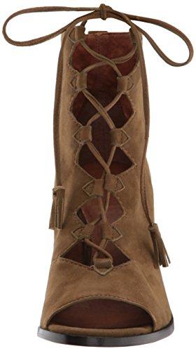 Frye Women's Gabby Ghillie Dress Sandal, Black Khaki Suede