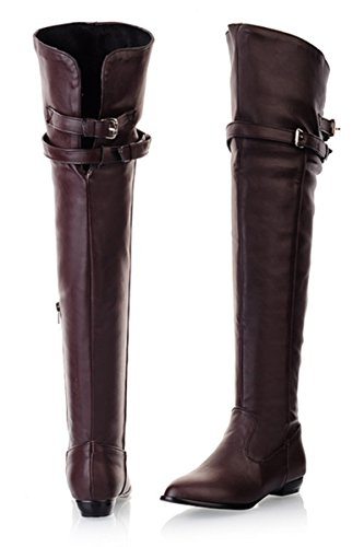 YE Womens Winter Flat Heel Thigh High Over The Knee Long Boots with Buckle and Zip Brown vxRsi