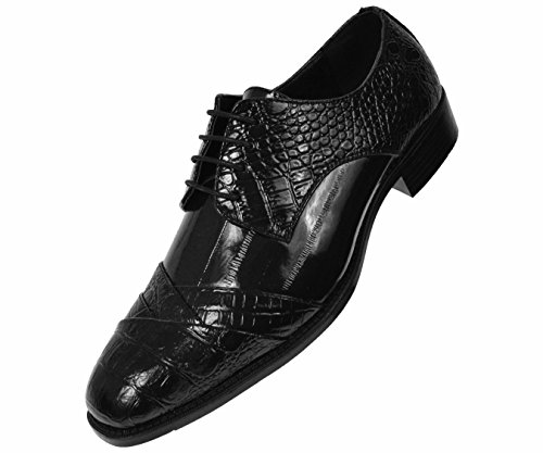 - Bolano Mens Exotic Faux Crocodile and EEL Print Folded Cap Toe Oxford Dress Shoes, Style Bandit
