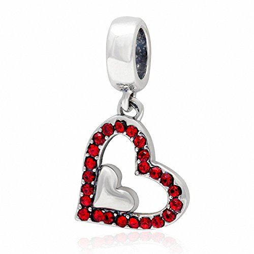 ABUN Sparkly Crystal Heart Charms 925 Sterling Silver Heart in Heart Birthstone Charm for Euroepan Bracelet (Red January Stone) ()