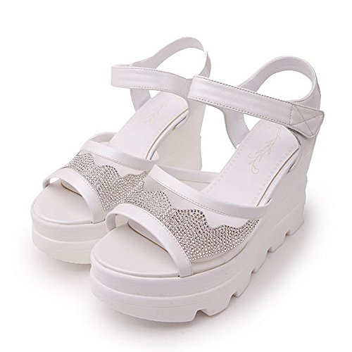 Amoonyfashion Womens Haak En Lus Hoge Hakken Pu Studded Open Teen Sandalen Wit