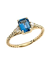 1.5 Carat London Blue Topaz Soliraire Beaded Promise Ring with White Topaz Sidestones in 14k Yellow Gold