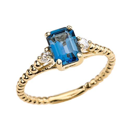 1.5 Carat London Blue Topaz Soliraire Beaded Promise Ring With White Topaz Sidestones in 10k Yellow Gold(Size ()