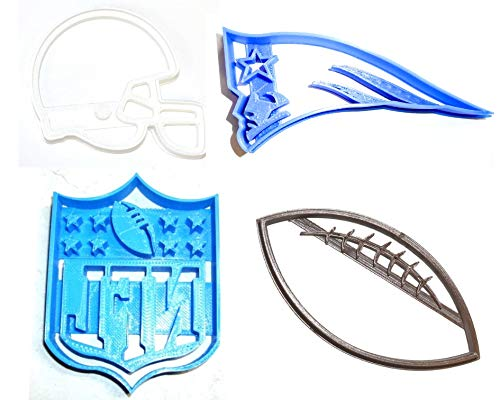 NEW ENGLAND PATRIOTS NFL FOOTBALL LOGO HELMET SET OF 4 SPECIAL OCCASION COOKIE CUTTERS BAKING TOOL 3D PRINTED MADE IN USA PR1126