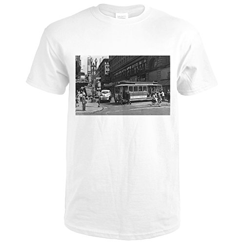 San Francisco, California - View Of a Cable Car On Powell and Market Streets - Vintage Photograph (Premium White T-Shirt - Powell Street Sf