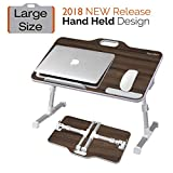 Kavalan [Large Size] Portable Laptop Table with Handle, Height & Angle Adjustable Sit and Stand Desk, Bed & Breakfast Table Tray, Foldable Notebook Stand Holder for Sofa Couch – Black Teak