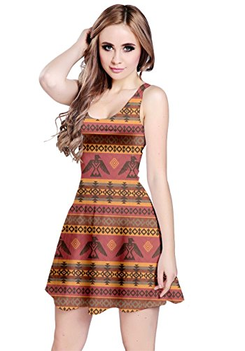 Native American Women Dress - CowCow Womens Brown Eagles Ethnic Style Tribal Native American Sleeveless Dress, Brown - XL