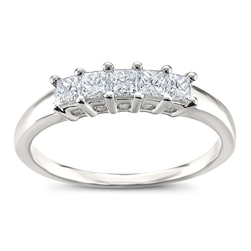 La4ve Diamonds Platinum 5-Stone Princess-Cut Diamond Bridal Wedding Band Ring (1/2 cttw, H-I, SI1-SI2), Size 7 ()