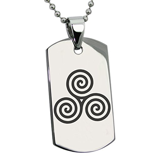 Stainless Steel Celtic Triskele Triskelion Triple Spiral Symbol Engraved Dog Tag Pendant Necklace