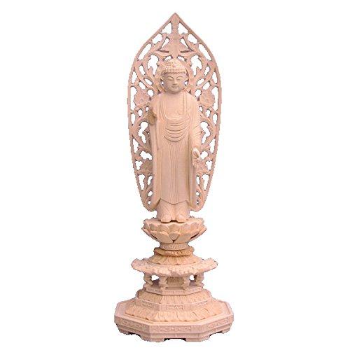 木彫仏像 阿弥陀如来 立像 5.0寸 草光背 八角台 桧木 B01I178APU