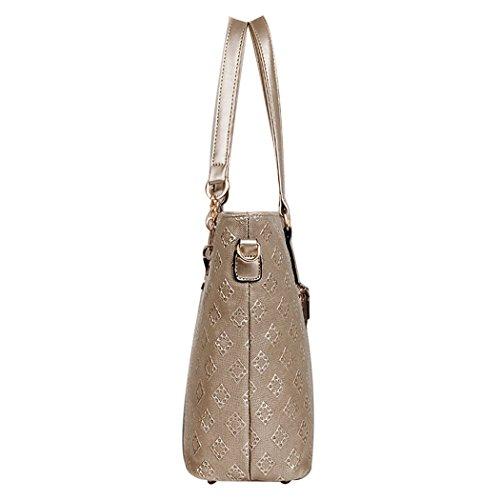 Minetom Damen Messenger Tasche Crossbody Geldbörsen Handtaschen Tasche Bag Set von 6 Golden bsVMo5C86