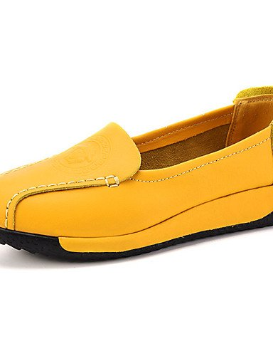 mocasines De 5 Plano Mujer Zapatos Uk6 casual Eu39 tacón Zq Amarillo Blanco White comfort Cn39 Yellow Uk6 us8 5 negro Cn40 cuero us8 Y4T5qx