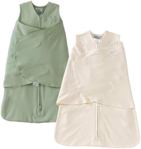 HALO SleepSack 100% Cotton Swaddle, Sage & Cream, Newborn (2-Pack)
