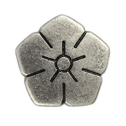 Bezelry 12 Pieces Pentagon Sakura Gray Silver Metal Shank Buttons 15mm (5/8 inch) ()