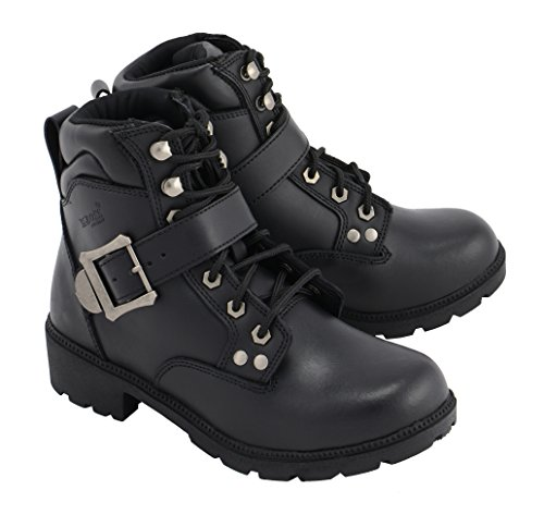 M Boss Apparel BOS49301 Ladies 7 Inch Black Road Captain Leather Motorcycle Boots - 7.5 ()