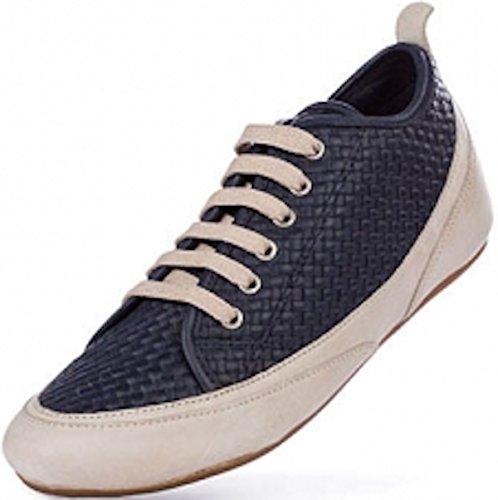 Patrizia Piquet BIANCA, Gold / Beige / Navy-blue hand woven premium ladies sneaker Navyblue/Beige