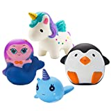 Grobro7 Kawaii Animal Slow Rising Squishy, Scented Soft Stress Relief Toy, Decorative Gift for Kids Party Toy, Including Cute mermaid, Penguin, Whale and Unicorn,4 Pack