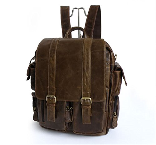 G-JMD Fashion Creative Genuine leather Casual Daypack Backpacks College Bag Dark Brown