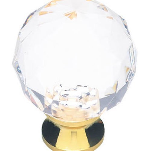 1-3/16-Inch Acrylic Faceted Cabinet Hardware Knob With Brass Base, Packaging May Vary