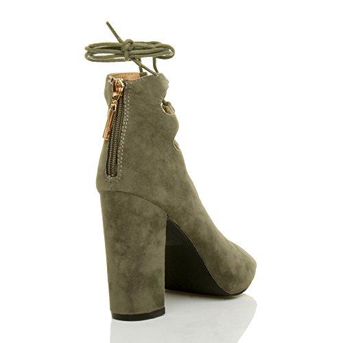 Damen hohe Blockabsatz Spitze bis Ghillie Cut Out Peep Toe Party Schuhe Größe khaki suede