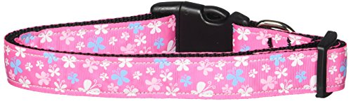 Christmas Ribbon Pet Collar Dog (Mirage Pet Products Butterfly Nylon Ribbon Collar, Large, Pink)